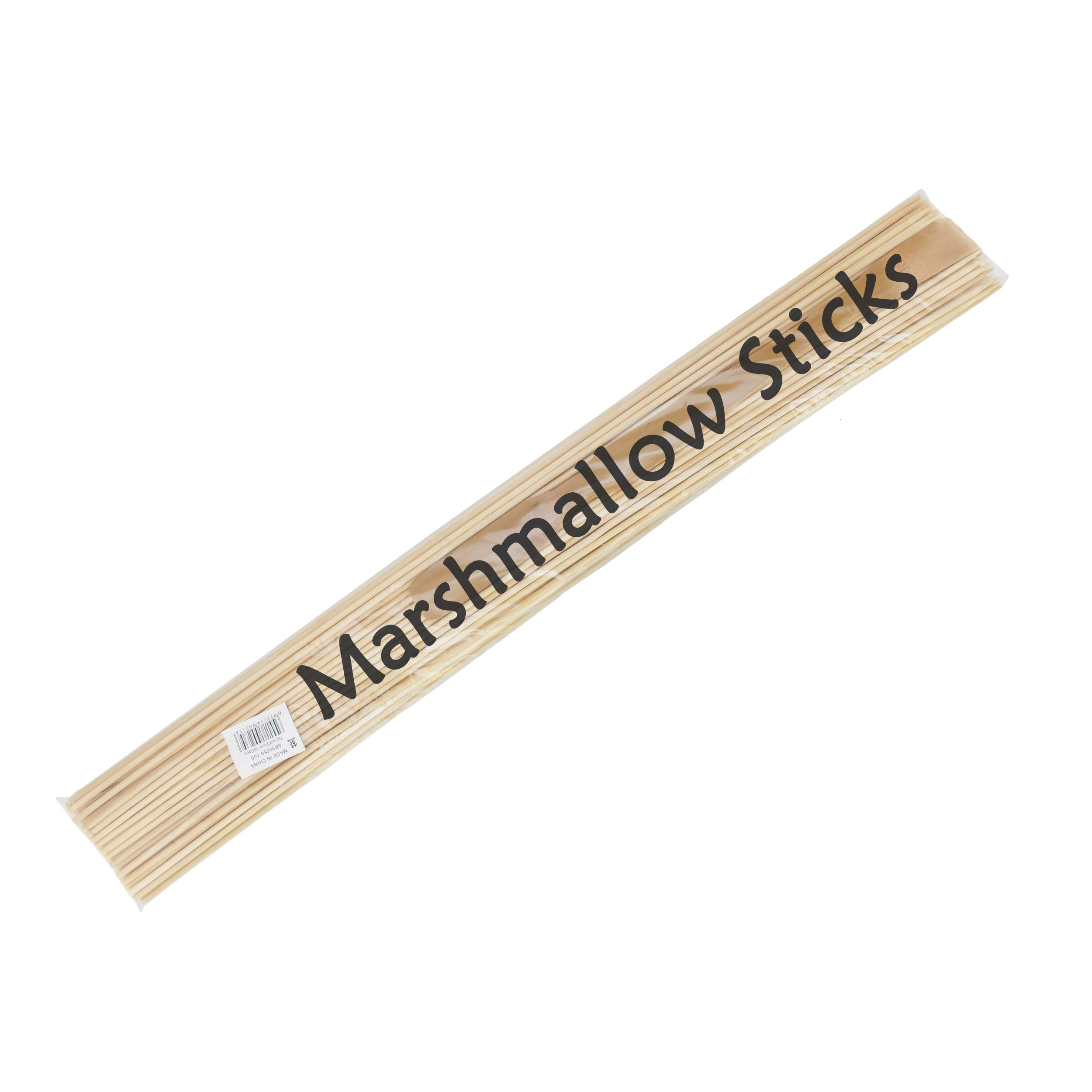 BambooMN Premium 30 Inch (2.5ft) 5mm Thick Safe Extra Long Multipurpose Marshmallow S'Mores Roasting Bamboo Sticks Skewers, 300 Pieces Perfect for Camping or Outdoor Party, Garden Sticks