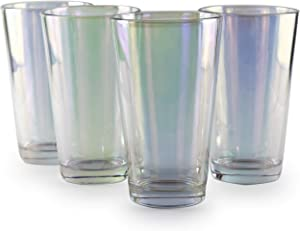 Circleware 76841 Radiance Set of 4 Heavy Base Highball Cooler Drinking Glasses Beverage Tumbler, 15.75 oz, Cups for Water, Juice, Milk, Beer, Ice Tea and Farmhouse Decor, 4pc