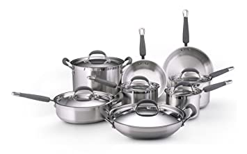 KitchenAid Gourmet Essentials Brushed Stainless Steel 14-Piece ... on kitchenaid bbq grill set, rachael ray red cookware set, club cookware set, best nonstick cookware set, copper with stainless steel cookware set, kitchenaid cooking set, cooks stainless steel cookware set, kitchenaid canister set, kitchenaid skillet set, kitchenaid cookware sets walmart, kitchenaid cutlery set, t-fal professional cookware set, kitchenaid pan set,