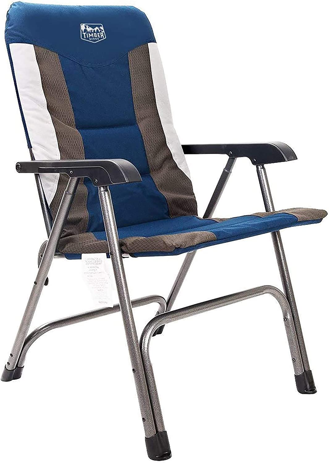 Timber Ridge Camping Folding Chair High Back Portable With Carry Bag Arm Chair Easy Set Up Padded For Outdoor Lawn Garden Lightweight Aluminum Frame Support 300lbs Sports Outdoors