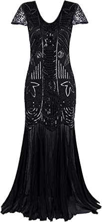 Vijiv 1920s Long Prom Gowns Sleeves Beaded Sequin Art Deco Evening Formal Dress At Amazon Women S Clothing Store