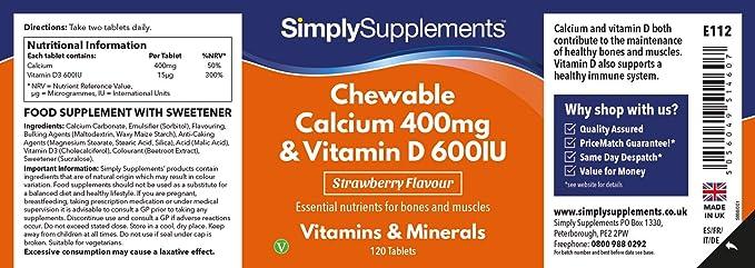 Calcio con Vitamina D Masticable - ¡Bote para 2 meses! - Apto para ...