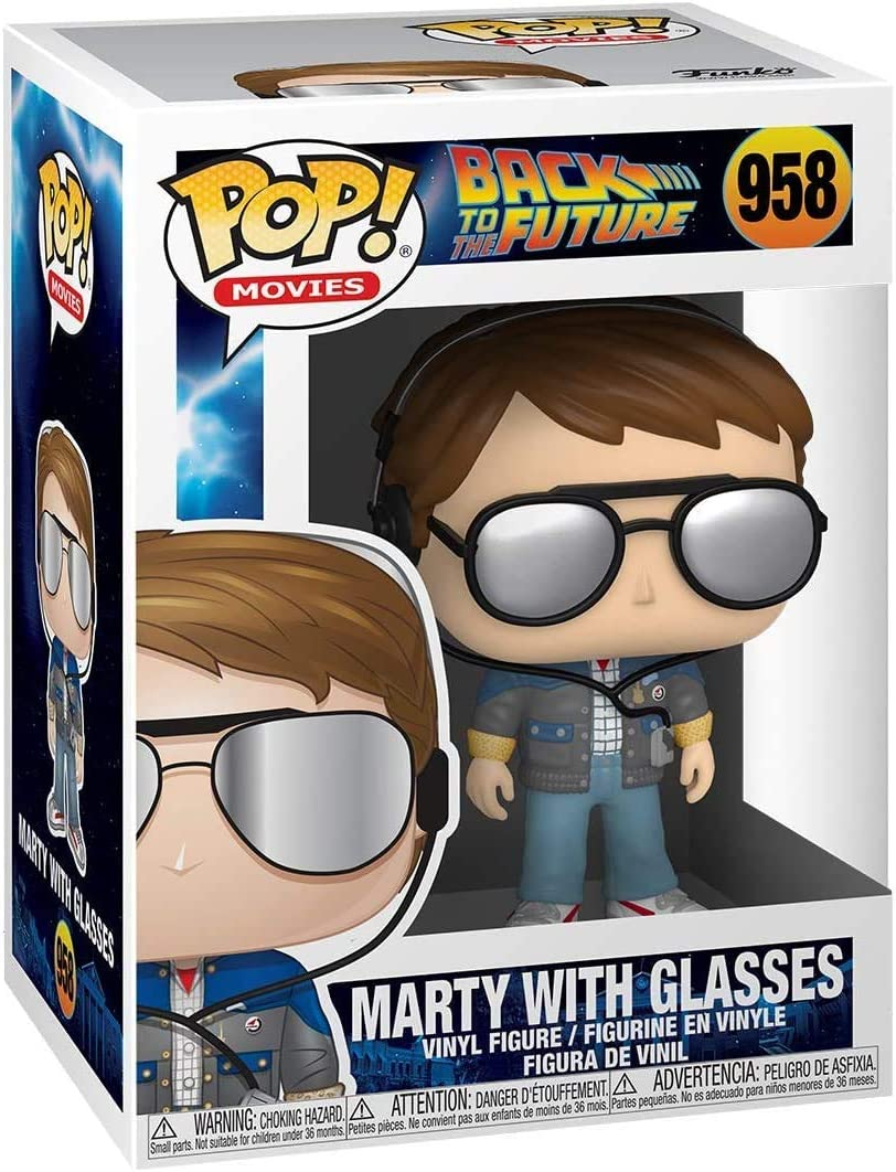 Back to The Future Vinyl Figure Includes Ecotek Pop Box Protector Case Marty McFly with Glasses #958 Pop Movies
