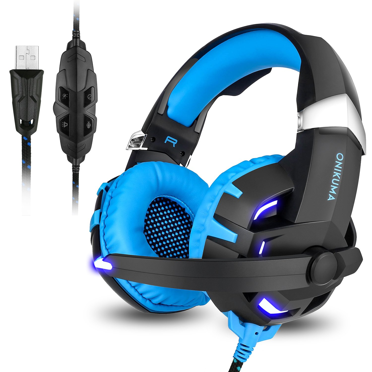 Gaming Headset,7.1 Channel Surround Stereo Sound USB Wired Over Ear Headphones with Noise Cancelling Microphone Separate Volume Control LED Light for PC Mac Laptop Computer(Black Blue) by ONIKUMA
