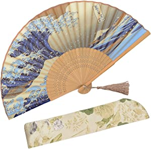 """OMyTea """"Landscape 8.27""""(21cm) Folding Hand Held Fan - with a Fabric Sleeve for Protection for Gifts - Japanese Vintage Retro Style (Kanagawa Sea Waves)"""