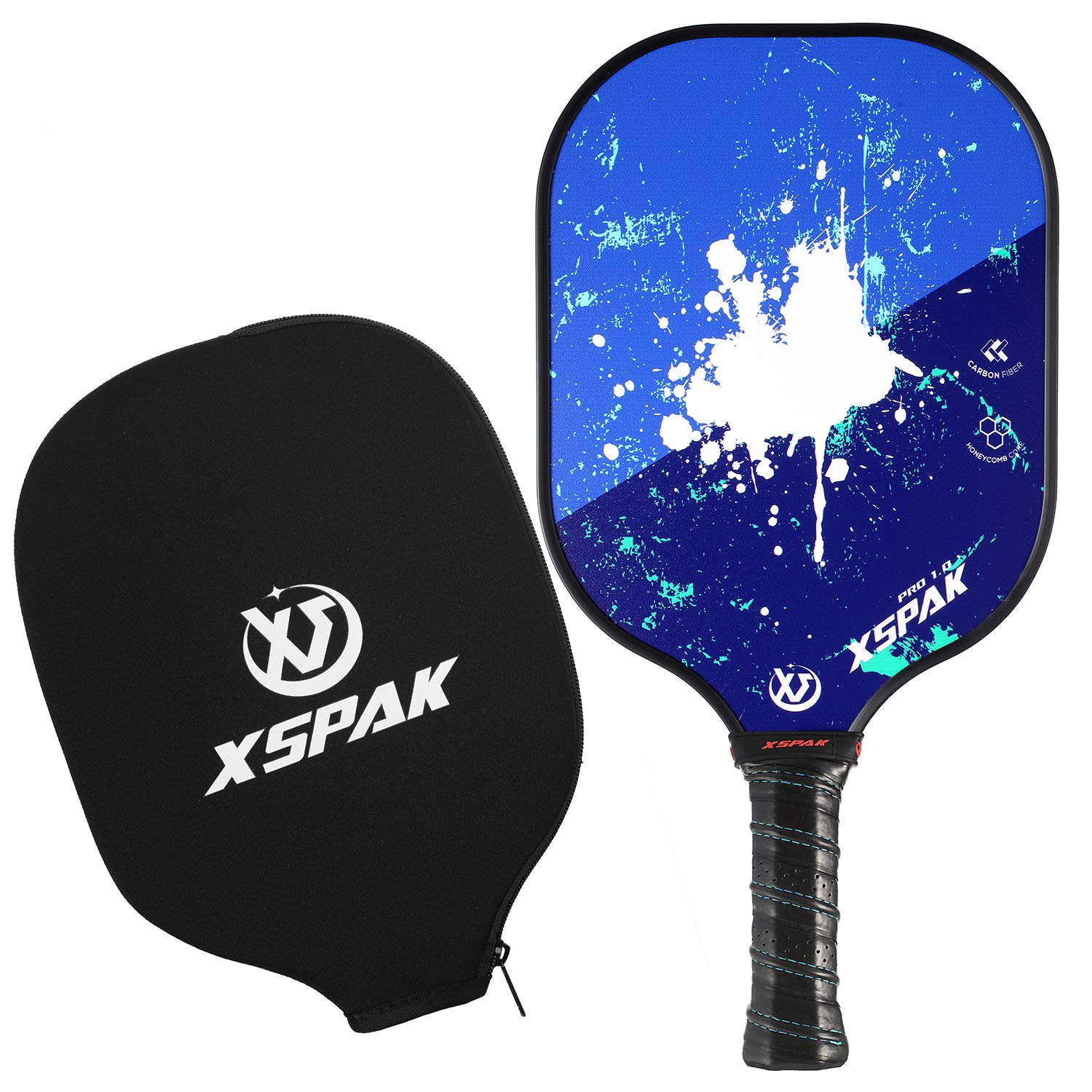 XS XSPAK Pickleball Paddle - Lightweight Graphite/Carbon Fiber Face & Polypropylene Honeycomb Composite Core Paddles Including Racket Cover, USAPA Approved, Blue by XS XSPAK