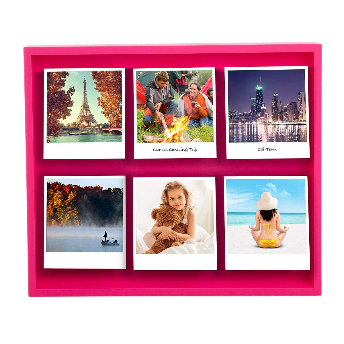 DN_DEA Wonderful Shadow Box Magnetic 12 x 10'' Polaroid Photo Frame Holds 6 Pictures Photographs Color Pink