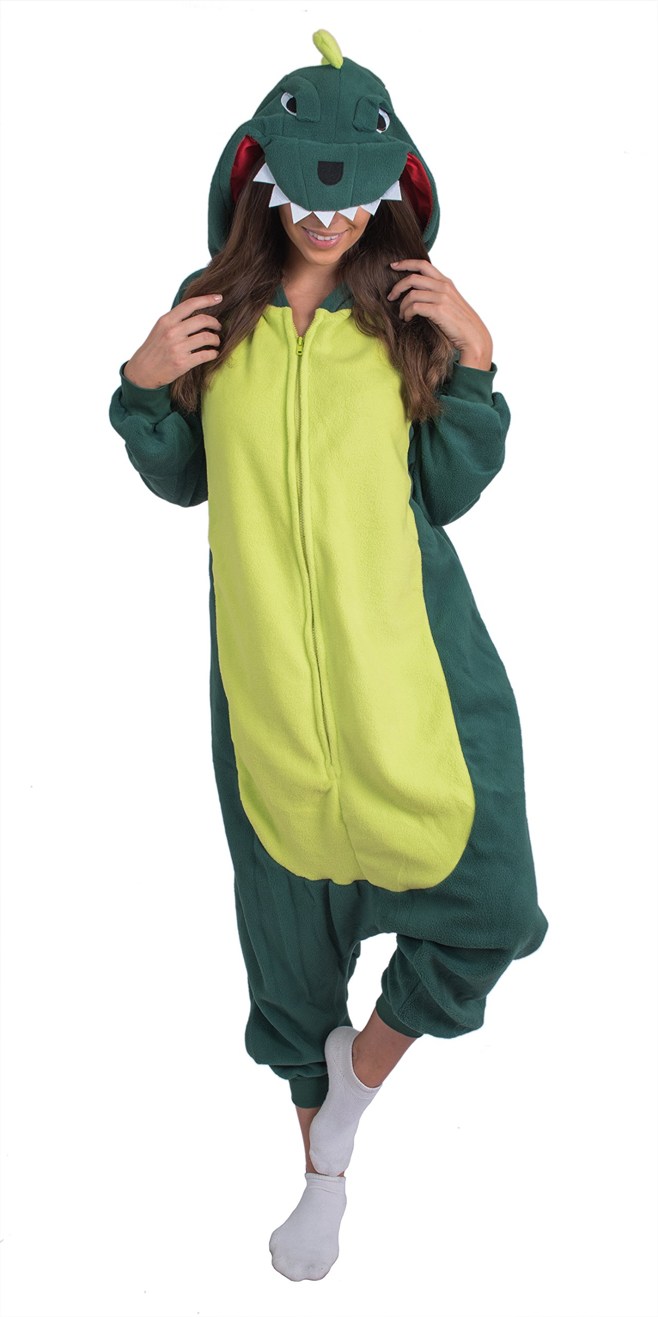 Adult Onesie Dinosaur Animal Pajamas Comfortable Costume With Zipper and Pockets (X-Large, Green Fleece)