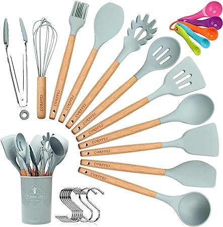 Compra CORAFEI Utensilios de cocina silicona y madera, espátula, cuchara, cucharón, batidor, pinza para espagueti, olla de almacenamiento, 5 cucharas de medir y ganchos - 12 Piezas en Amazon.es