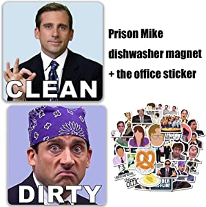 Michael Scott Prison Mike Dishwasher Magnet Clean Dirty Sign Strongest Magnet Double Sided Flip Universal Kitchen Dishwasher Reversible Indicator & 50pcs the office stikcers set.