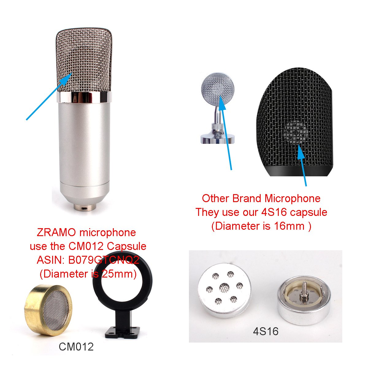 Zramo 34mm large diagram condenser mic capsule for recording zramo 34mm large diagram condenser mic capsule for recording microphone studio professional mic computer pc use ccuart Images