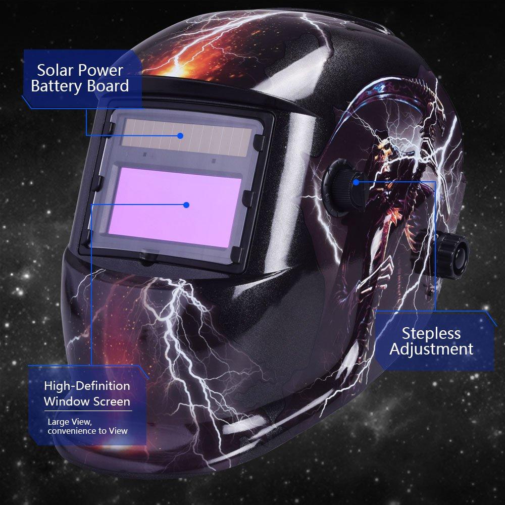 Casco de soldadura con oscurecimiento automático y energía solar de Nuzamas, protección facial para cortes de plasma de molienda de arco Tig Mig, ...