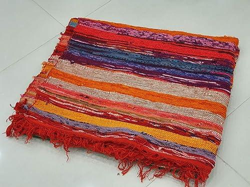 Amazon.com: indian handmade vintage chindi rug yoga mat rugs ...