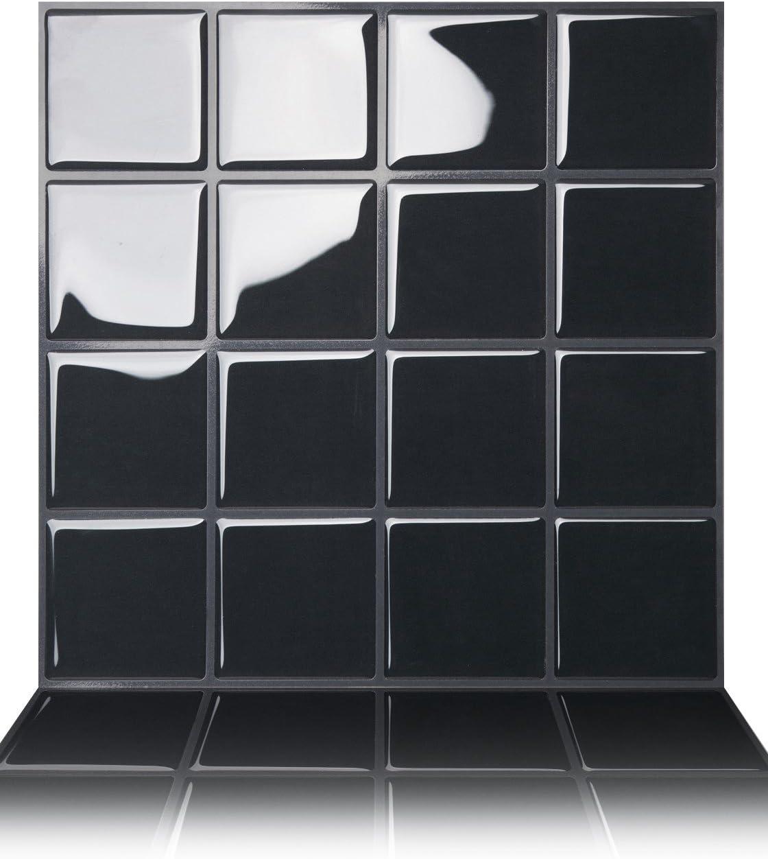 Tic Tac Tiles 5-Sheet Peel and Stick Self Adhesive Removable Stick On Kitchen Backsplash Bathroom 3D Wall Sticker Wallpaper Tiles in Big Square Dark Grey