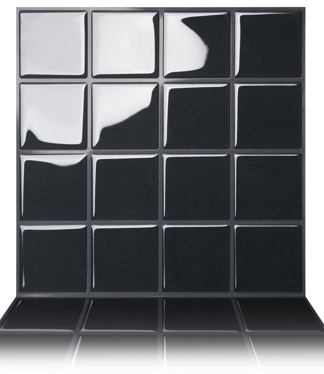 Tic Tac Tiles Premium Anti Mold Peel and Stick Wall Tile in Big Square Black (10 Tiles, Black)