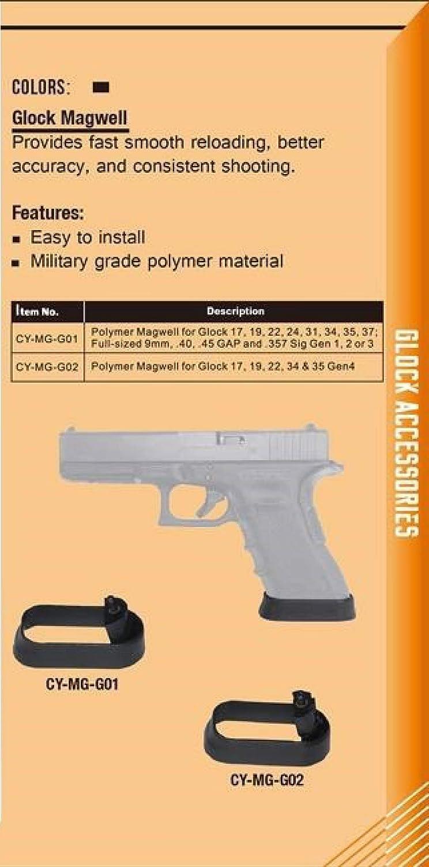 CYTAC MW for glock Fits 17,19, 22, 24,31,34,35,37 Full Size 9mm  40 45  GAP357 Sig Gen 1, 2, 3