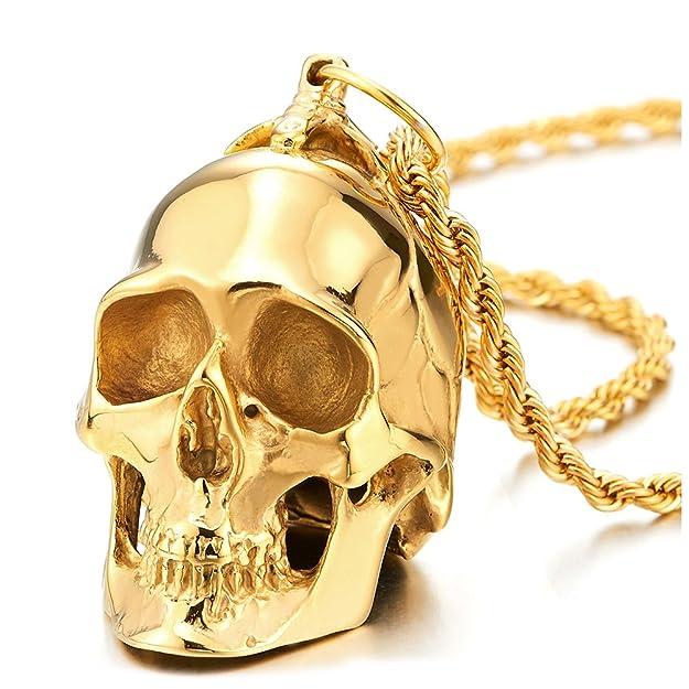 Colgante de Cráneo Oro, Calavera, Collar de Hombre, Acerohttps://amzn.to/2Z02Mb8