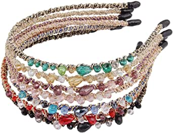 Candygirl Jewel Crystal Headbands Glitter Hairbands ,Grosgrain Ribbon Hair Bands Fabric Wrapped Headbands for Girls Women(7pc mix color )