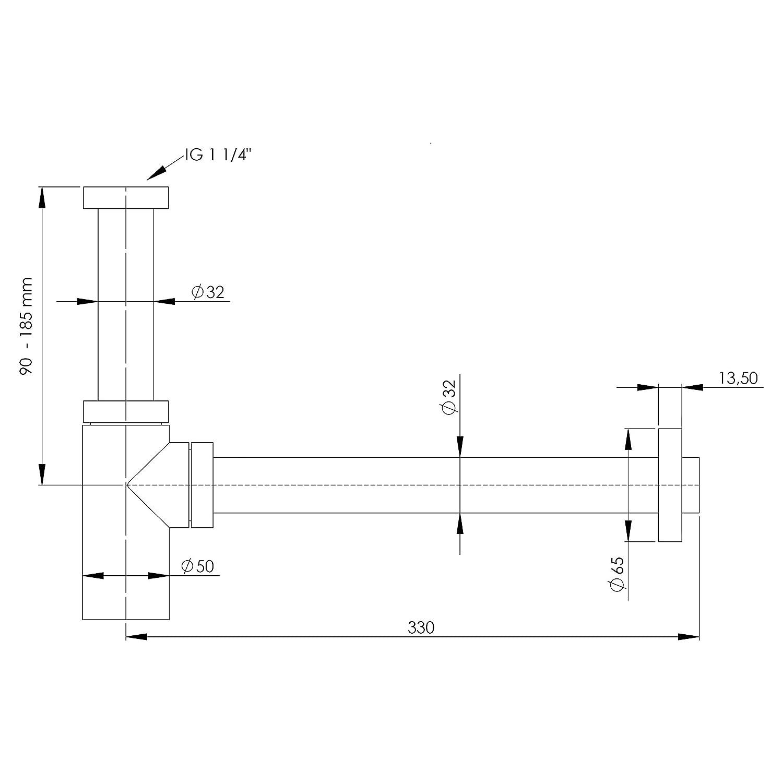 verchromt VARIOSAN Design Siphon Geruchverschluss 12555 32 mm 1 1//4 Messing