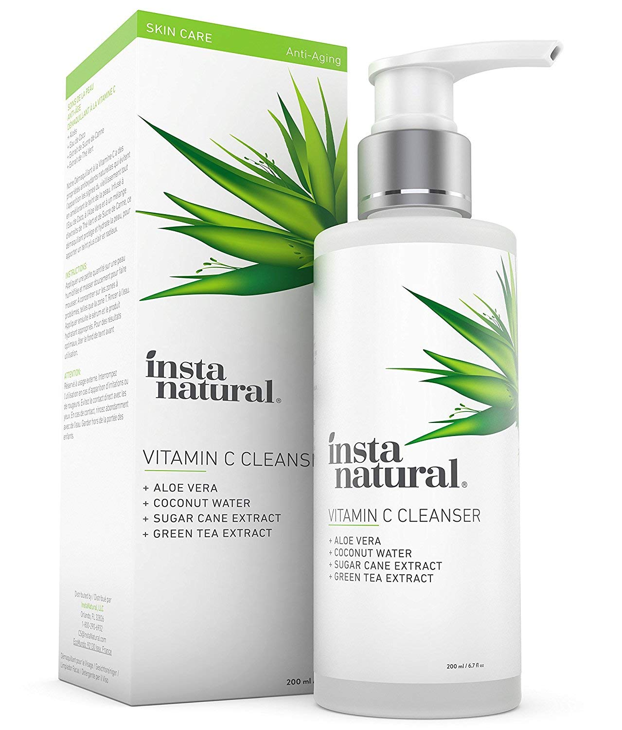 Vitamin C Facial Cleanser – Anti Aging, Breakout & Blemish, Wrinkle Reducing Gel Face Wash – Clear Pores on Oily, Dry & Sensitive Skin with Organic & Natural Ingredients – InstaNatural – 6.7 oz