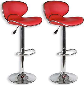 IDIMEX Lot de 2 tabourets de Bar Lounge Chaise Haute pour Cuisine ou comptoir, Assise réglable en Hauteur et pivotante avec Dossier, revêtement en