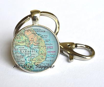 Amazon com: AllMapsupplier Charming Keychain Cambodia map