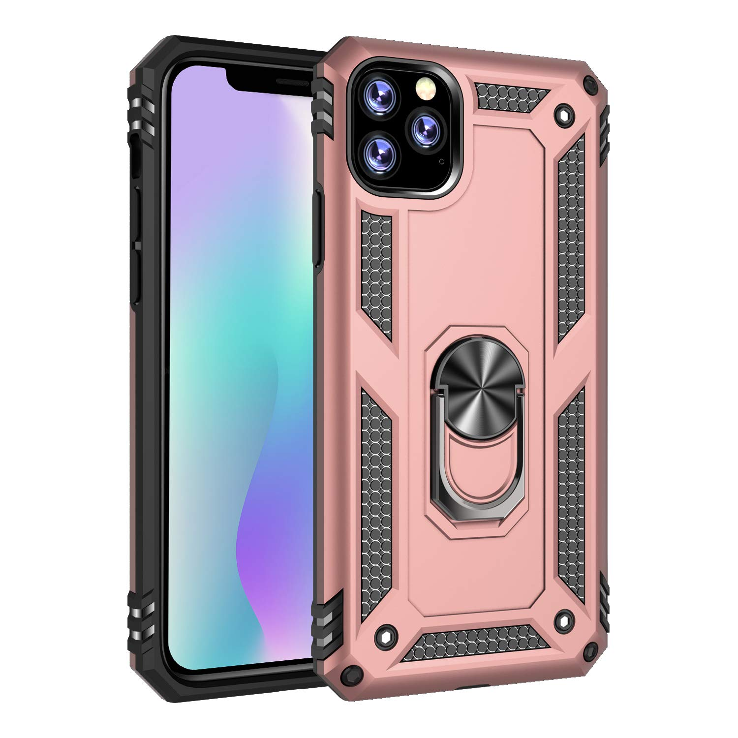 iPhone 11 Pro Max (iPhone 2019 6.5 Inch) Case, Futanwei Military Grade Rugged Armor Shockproof Phone Case with Metal Finger Ring Kickstand [Fit Magnetic Car Mount] for iPhone 11 Pro Max, Rose Gold by Futanwei