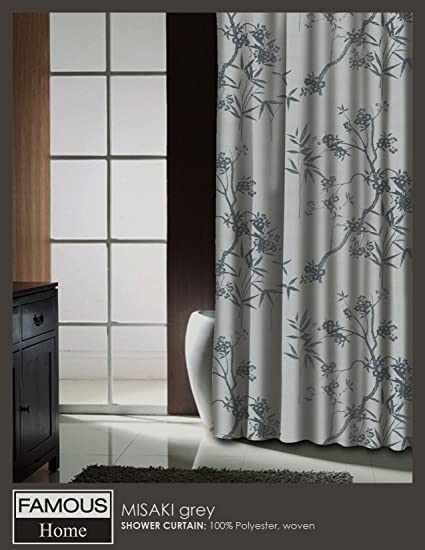 Misaki Grey Asian Floral Branches U0026 Bamboo Fabric Shower Curtain