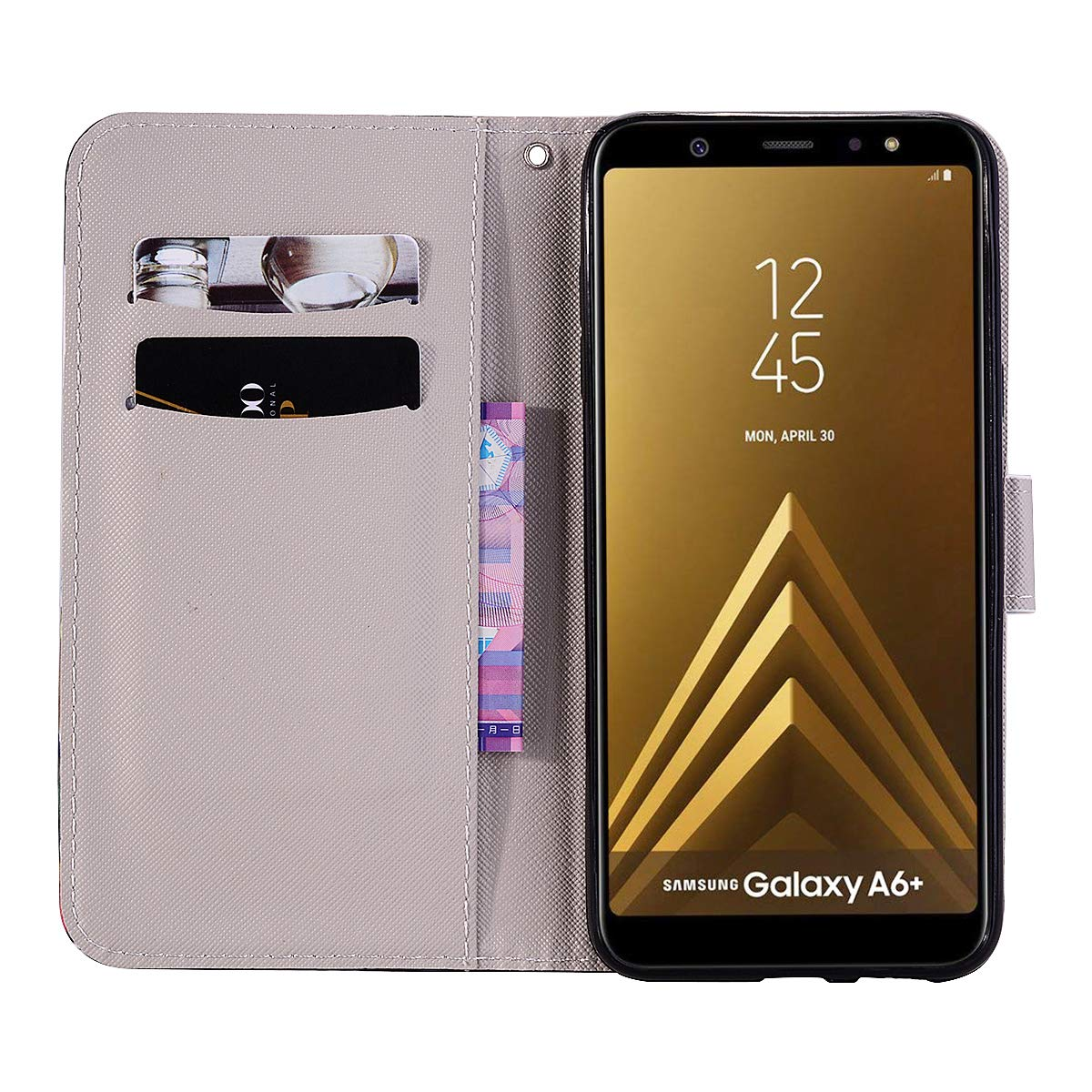 Carcasa para Samsung Galaxy A6 Plus 2018 Smart silicona PU carcasa unique design suave PU Soft Cover Borrar Clair Transparente con funda Case (+ Outdoor ...