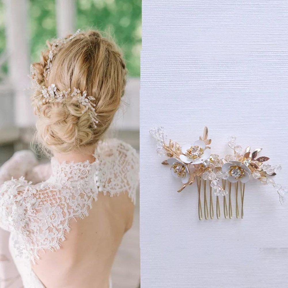 Fait à la main mariée accessoire de cheveux pièces 3d peint à la main Fleurs avec cristaux Perles Doré Haircomb Dhe10 Deerhobbes Design your own