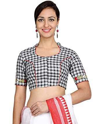 0cdef329b1dc65 Sara Cotton Black and White Check Pattern Collar Neck Non-padded Blouse   Amazon.in  Clothing   Accessories