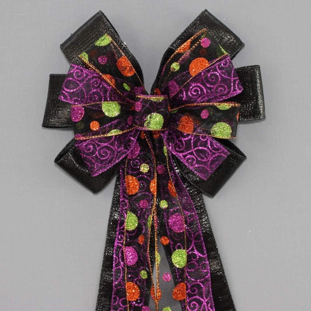 Halloween Sparkle Dot Swirl Black Metallic Wreath Bow - 10