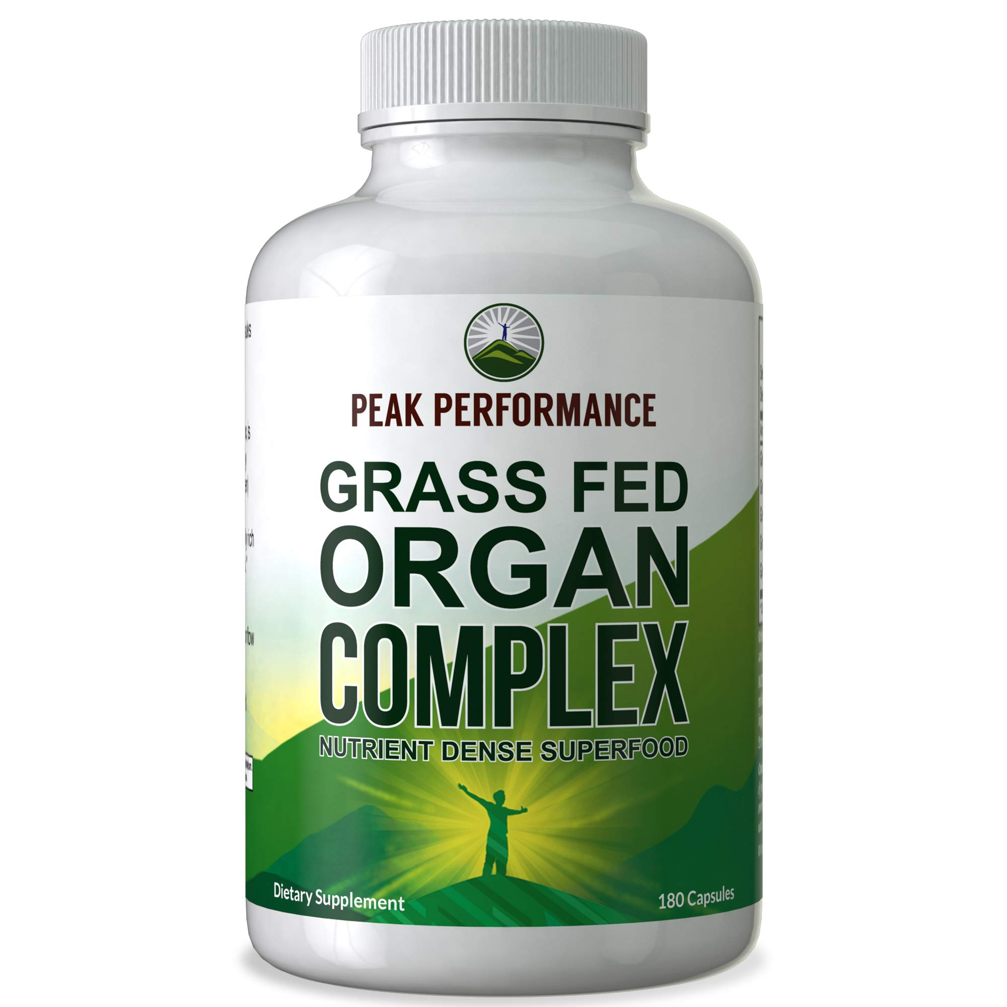 Grass Fed Beef Organ Complex (180 Capsules) by Peak Performance. Desiccated Organs Superfood Pills Rich in Antioxidants, Enzymes, Vitamin B12. Made from Liver, Heart, Kidney, Pancreas, Spleen by Peak Performance