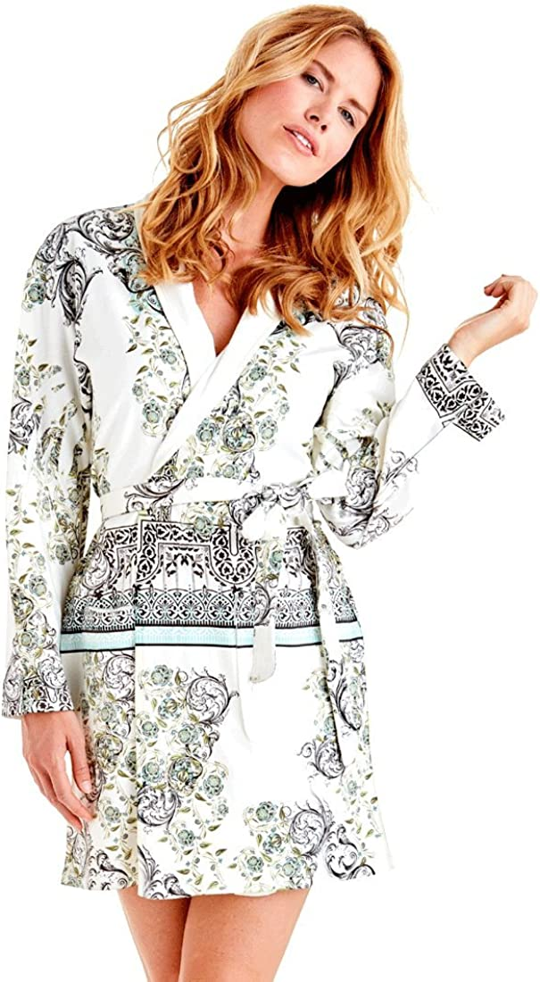 Ivy Microfiber Short Robe in Beautiful Green Wrap Up by VP Turqoise and Black Design