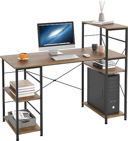 HOMECHO Mesa de Ordenador con 5 Estantes para Almacenaje Escritorio de PC con estanteria para Anfitrión de la computadora Escritorio de Computadora de ...