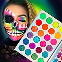 Neon Colorful Eyeshadow Palette Glitter Matte,Afflano Pro UV Glow Blacklight Luminous Highly Pigmented Eyeshadow Pallet…