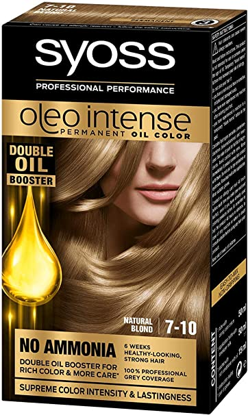 Syoss Oleo Intense Tinte para el cabello 100% aceites puros, 0% amoníaco 7-10 rubio natural