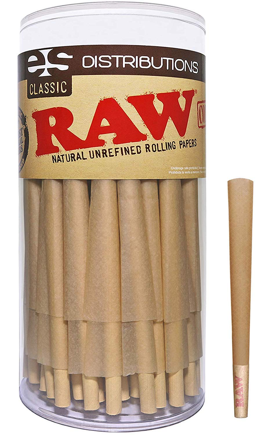 RAW Cones Classic 98 Special | 100 Pack | Natural Pre Rolled Rolling Paper with Tips & Packing Sticks Included