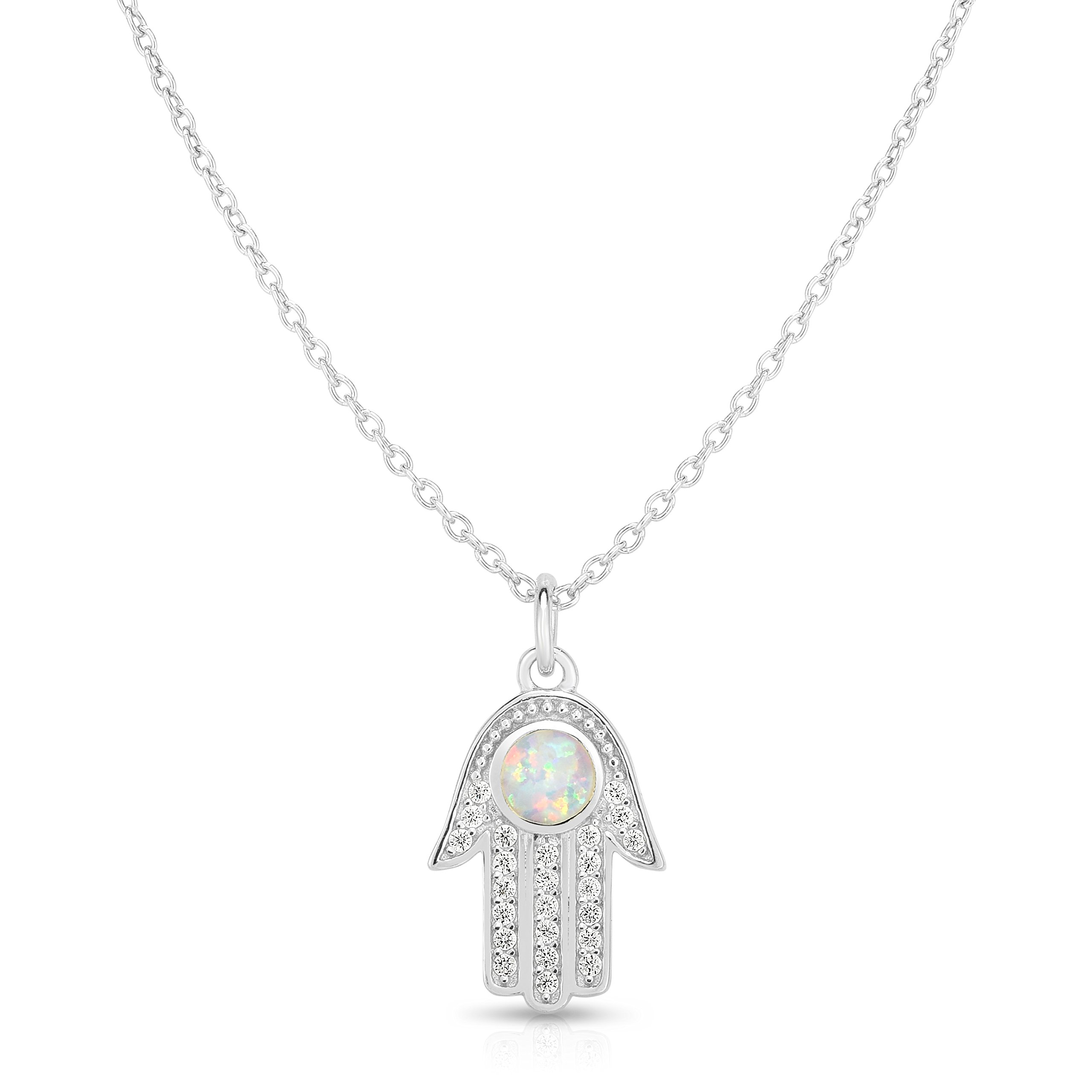 Unique Royal Jewelry Solid 925 Sterling Silver Cubic Zirconia Designer Hamsa Hand 16'' Length Pendant Necklace. (sterling-silver)