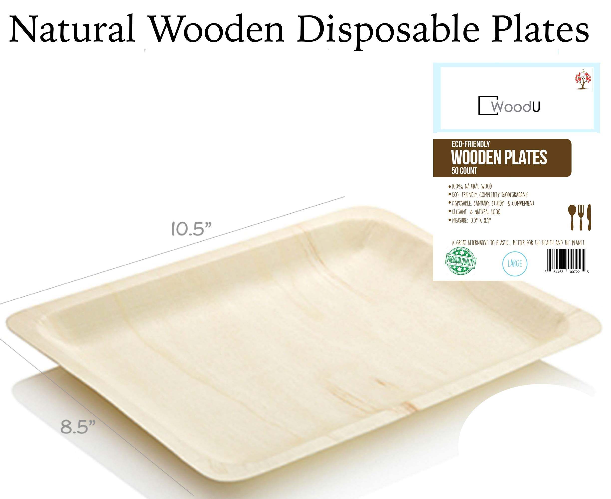 """Disposable Wooden Plates All Natural Eco-Friendly Compostable and Biodegradable Ideal Size for Main Course. Great for Parties, Weddings & Catering, 10.5"""" x 8.5"""" 50pc Party Plates, GO GREEN!"""