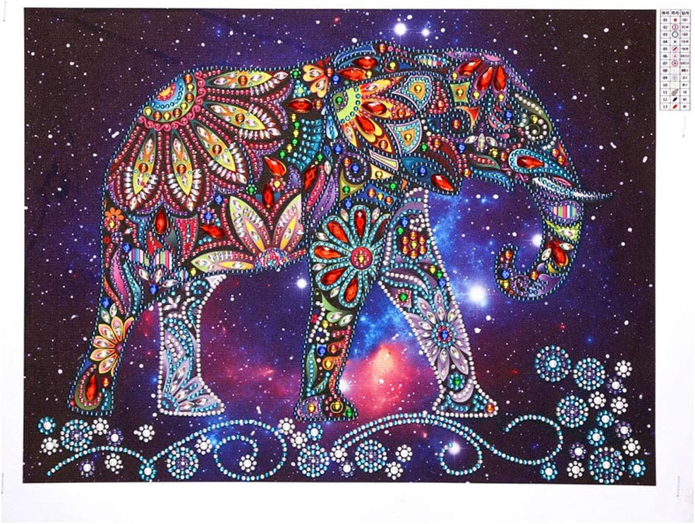 Seacity 5D Special Shaped Diamond Painting Kits by Number, DIY Partial Drill Painting Cross Stitch Rhinestone Embroidery Elephant Pictures Arts Craft for Home Decor