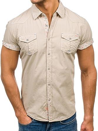 BOLF Herren Kurzarm Hemd Herrenhemd Slim Fit Casual Style 2B2  Amazon.de   Bekleidung 422095c589