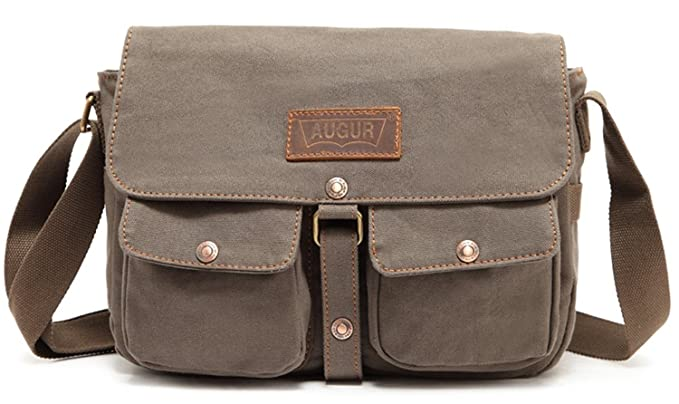 929115d55409 Aibag Mens Casual Canvas Genuine Leather Shoulder Cross Body Messenger Bag