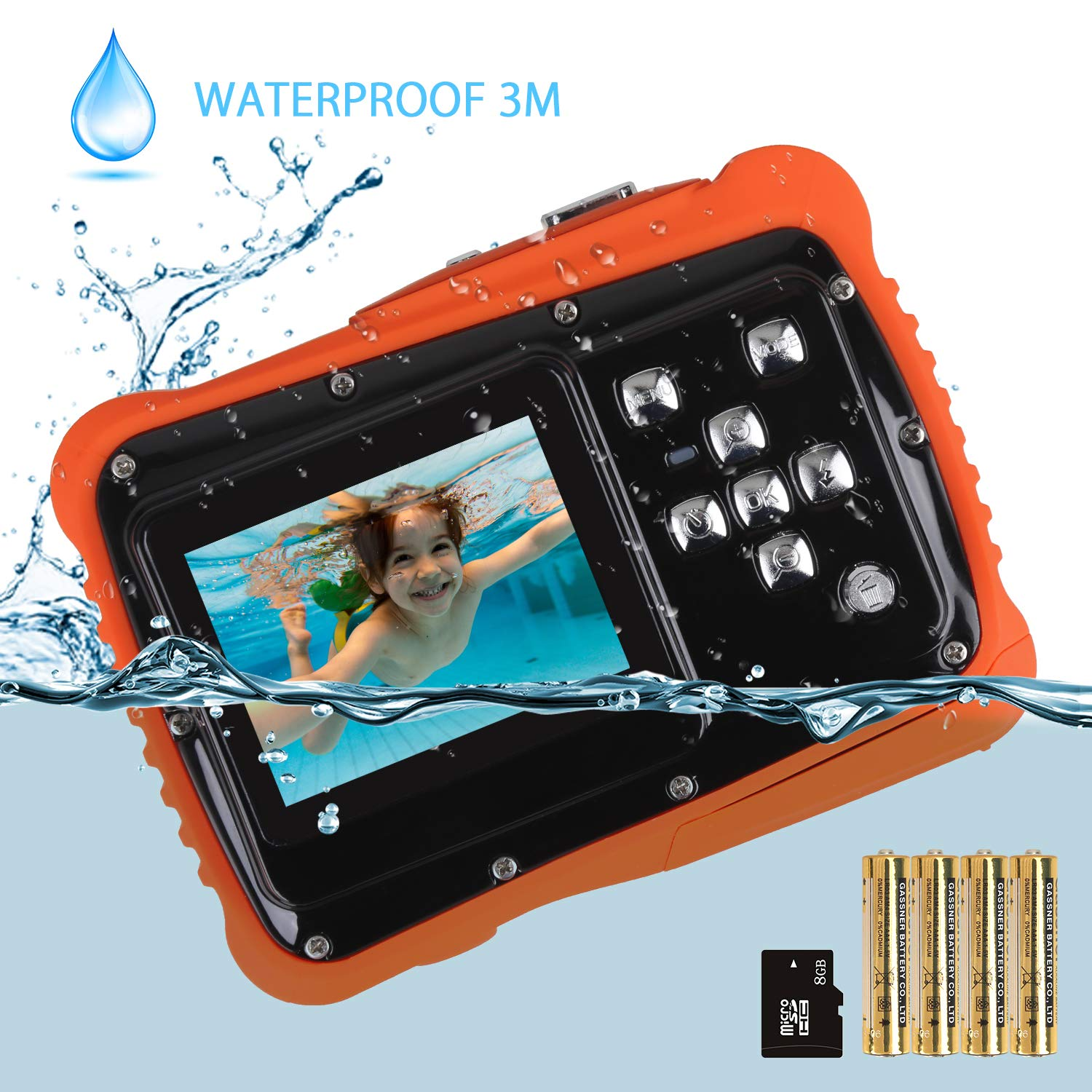 Kids Camera, Digital Waterproof Camera for Children with 3M Waterproof, 2 Inch LCD Screen, 12MP HD Resolution, 8X Digital Zoom and Flash with A 8G SD Card and Non-Rechargeable Battery by LDF