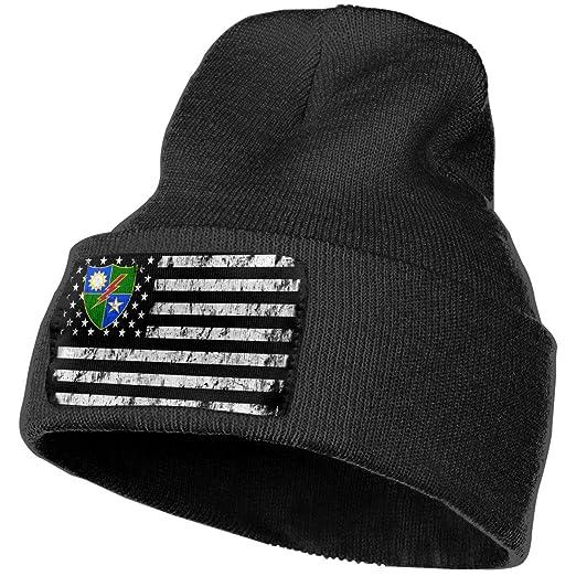 0ad00f8558c Xoshysowppp 75th Ranger Regiment DUI USA Flag Black Unisex Mens Womens  Skull Knit Hat Cap Ski Snowboarding Beanie Hats at Amazon Men s Clothing  store