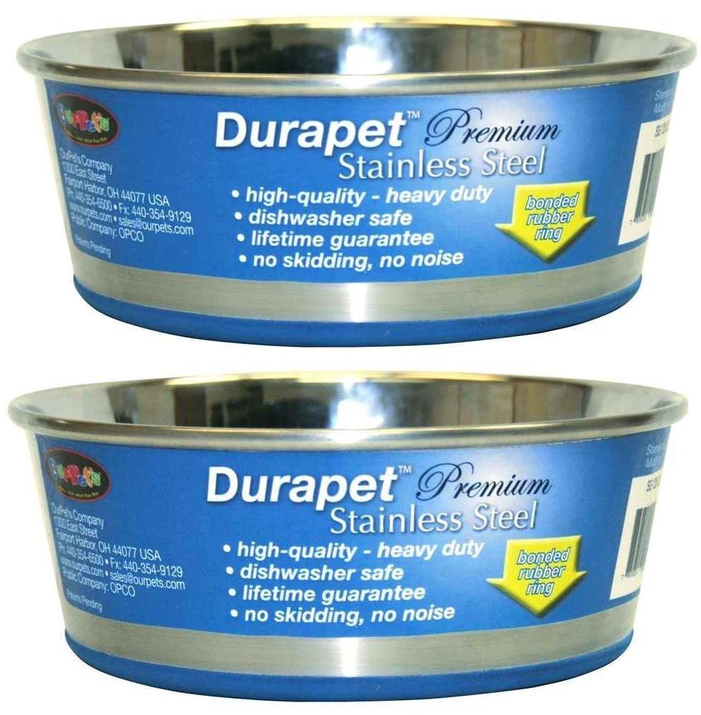 (2 Pack) DuraPet Stainless Steel Dog Bowl, 45 Quart Each