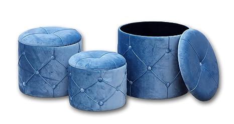 Pouf Tondo Contenitore.Disraeli Set 3 Pouf Contenitore Tondo In Legno E Velluto Blu