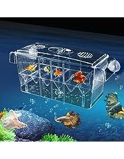 Incubateur de Poissons Aquarium Elevage Boîte de Poissons d'Écloserie Multifonctionnelle Auto-flottante Haute-Transparente, Grande Boîte d'Isolation Double