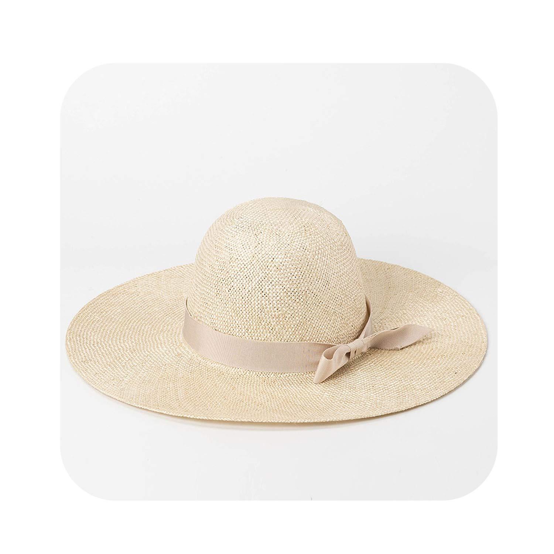 001 Beige Trim Sun Hat Beach Ladies Straw Hat for Summer Holiday Sinamay Wide Brim Hats