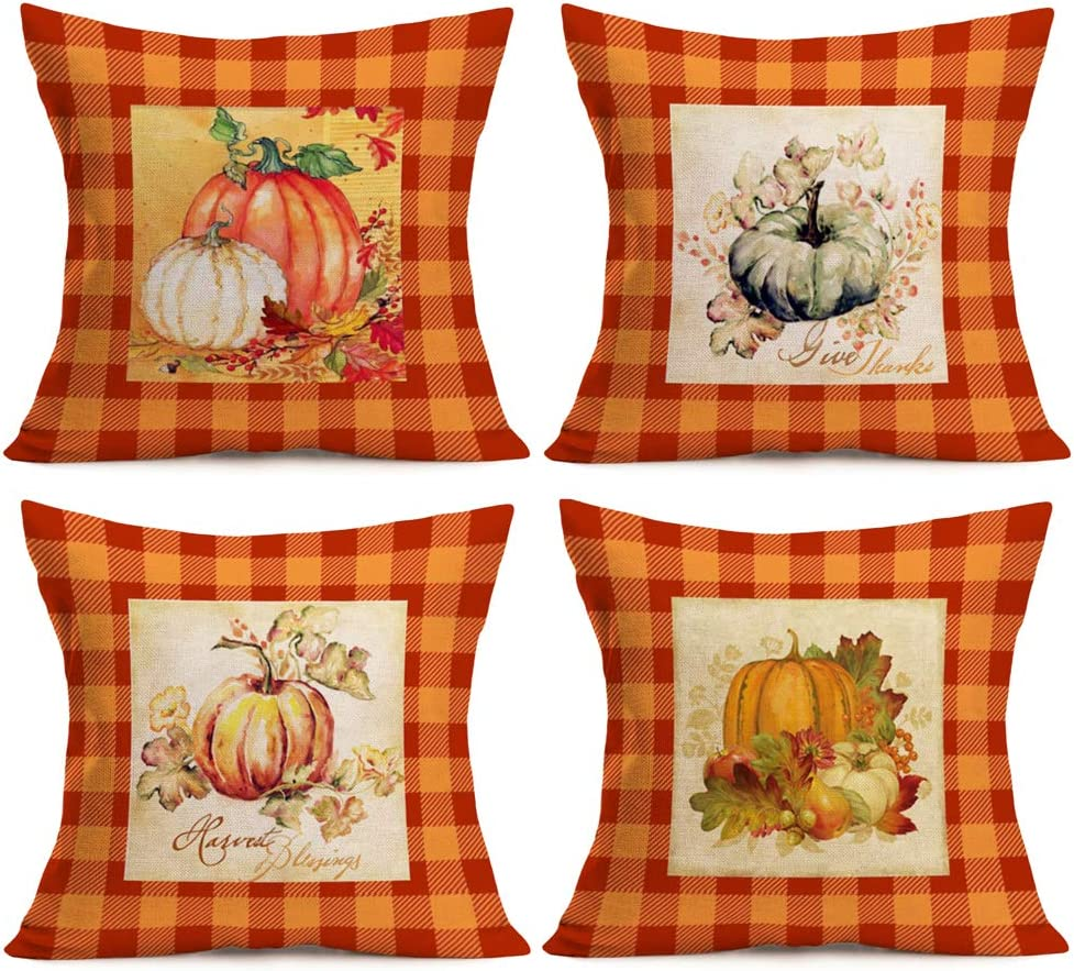 Asamour Pack of 4 Fall Orange Buffalo Plaids Pumpkin Leaves Throw Pillow Covers Autumn Harvest Farmhouse Decorative Cotton Linen Thanksgiving Blessings Quote Cushion Cover Pillow Case 18''x18''